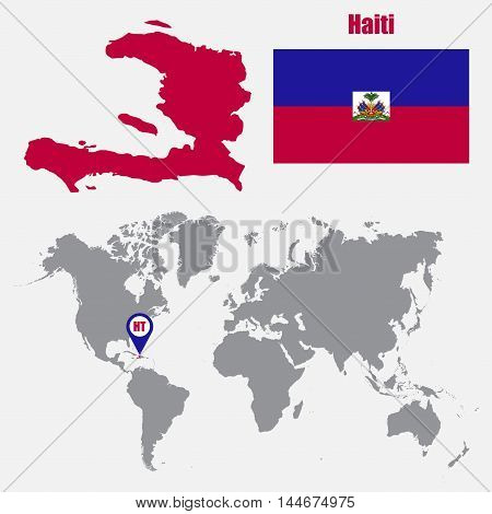Haiti map on a world map with flag and map pointer. Vector illustration