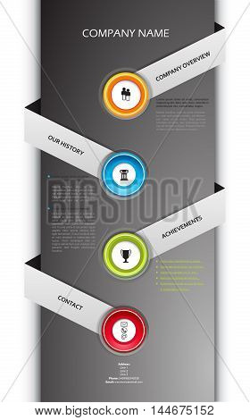 Company infographic overview design template with colorful labels.