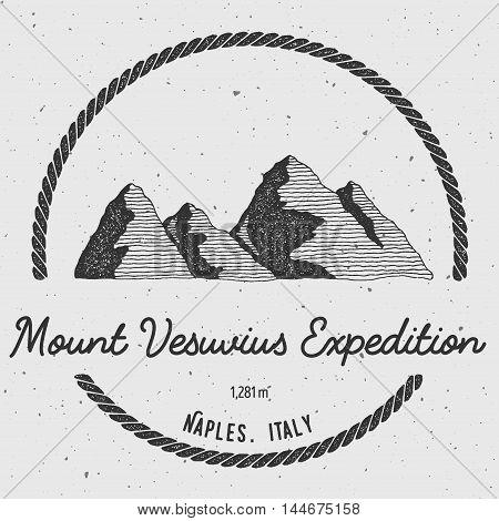 Vesuvius In Naples, Italy Outdoor Adventure Logo. Round Trekking Vector Insignia. Climbing, Trekking