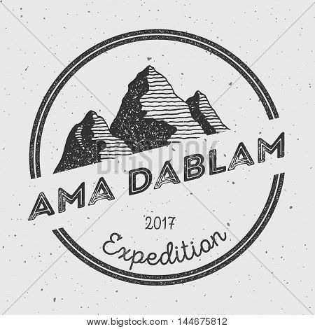 Ama Dablam In Himalayas, Nepal Outdoor Adventure Logo. Round Expedition Vector Insignia. Climbing, T
