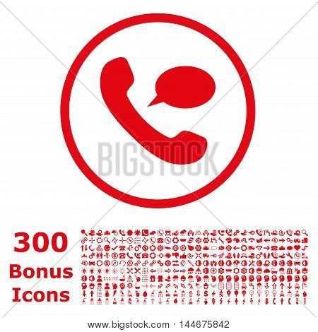 Phone Message rounded icon with 300 bonus icons. Vector illustration style is flat iconic symbols, red color, white background.