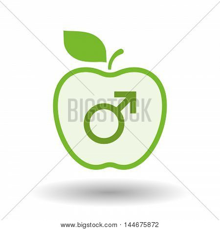 Isolated  Line Art Apple Icon With A Male Sign