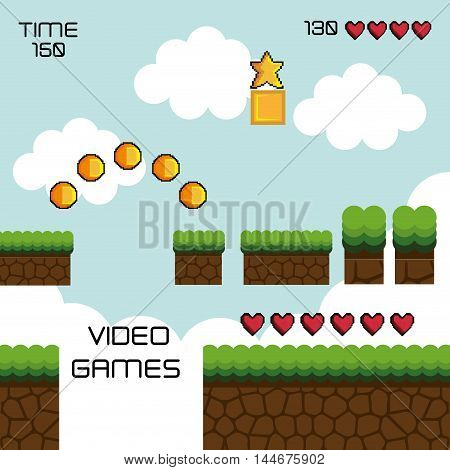 display game pixel interface vector illustration design