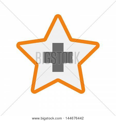 Isolated  Line Art Star Icon With A Pharmacy Sign