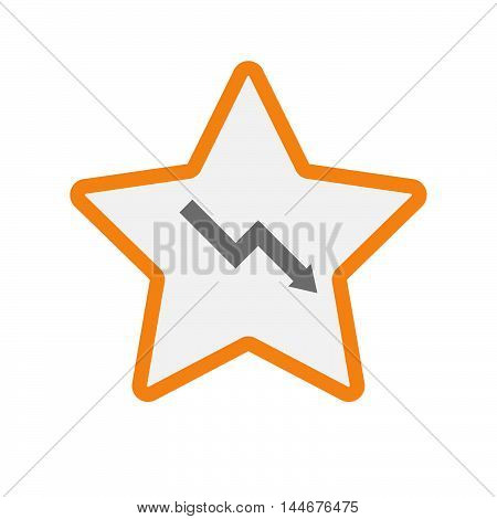 Isolated  Line Art Star Icon With A Descending Graph