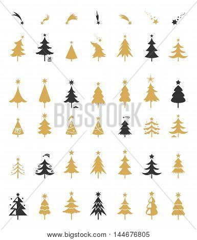 Christmas tree silhouette design vector. Greetings set with isolated decorative winter objects.