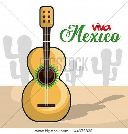 viva mexico instrument musical isolated poster vector illustration design