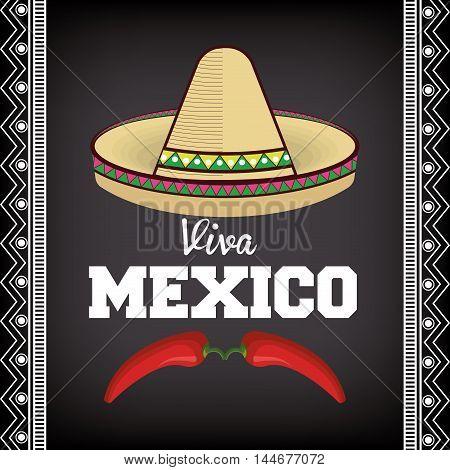 viva mexico sombrero poster icon vector illustration design