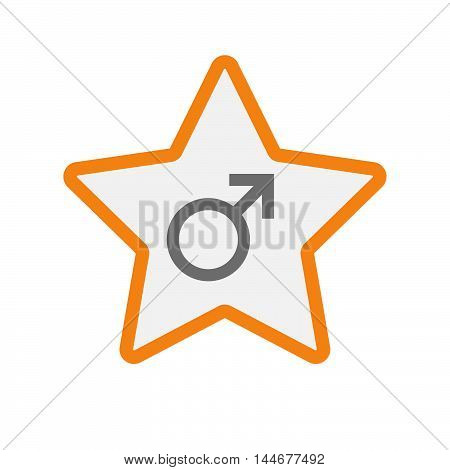 Isolated  Line Art Star Icon With A Male Sign