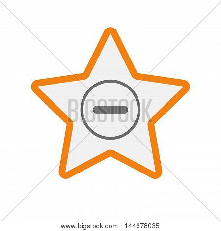 Isolated  Line Art Star Icon With A Subtraction Sign