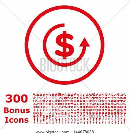 Refund rounded icon with 300 bonus icons. Vector illustration style is flat iconic symbols, red color, white background.