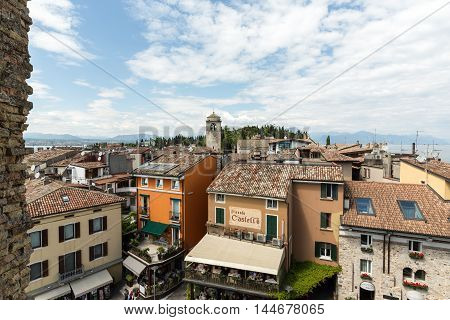 SIRMIONE ITALY - MAY 5 2016: View of Piazza Catello from the Scaliger Castle in Sirmione Lake Garda Italy