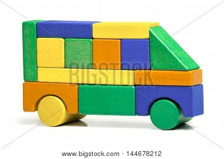 Toy Bus Children Simple Jigsaw Colors Wooden Car Isolated over White background