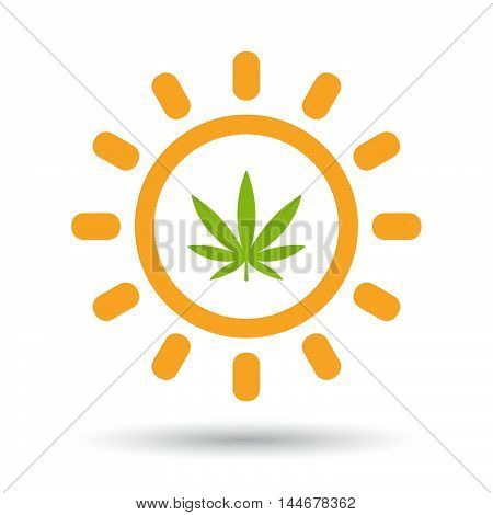 Isolated  Line Art Sun Icon With A Marijuana Leaf