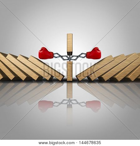 Winning strategy concept as a domino punching aside other dominos as clever business thinking as a success metaphor and power to dominate symbol as a 3D illustration.