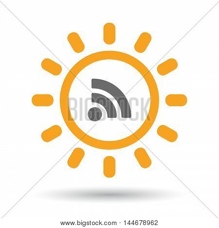 Isolated  Line Art Sun Icon With An Rss Sign