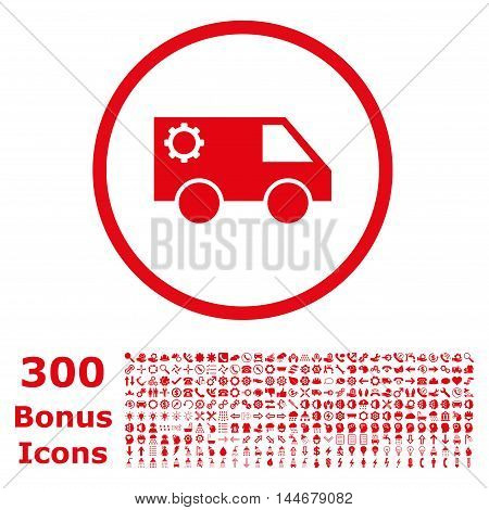 Service Car rounded icon with 300 bonus icons. Vector illustration style is flat iconic symbols, red color, white background.