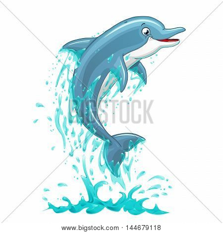 The dolphin who is jumping out of sea water on white background, isolated. Vector illustration.