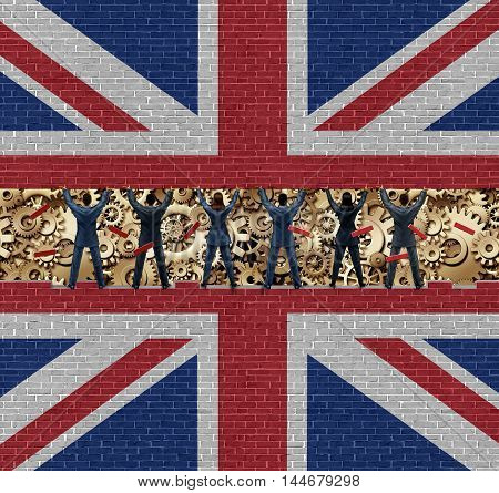 Inside Britain economy of British industry concept as a group of diverse men and women lifting up a brick wall exposing the economic gears and cogs with 3D illustration elements.