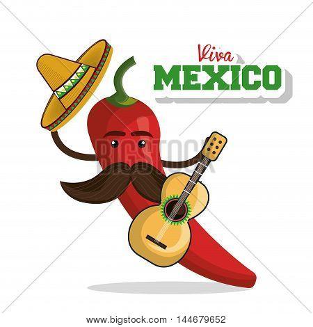 viva mexico poster chili pepper icon vector illustration design