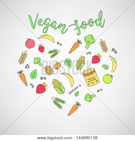 set of the vegan food icons. Vegetables and fruits. Thin line icons. Hand drawn typography.