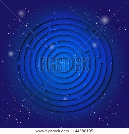 Spiritual sacred symbol of labyrinth on the deep blue cosmic sky. Sacral geometry in universe. Space with mystic design.