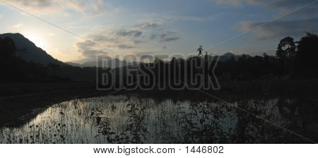 Sunset At The Lake From Londa To Kete Kesu, Rantepao, Sulawesi Island, Indonesia, Panorama