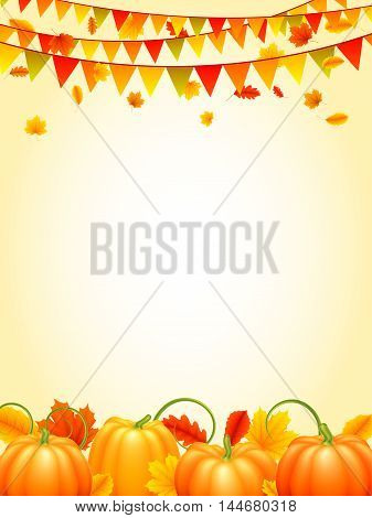 Autumn season background with colorful leaves, orange pumpkins and carnival paper garlands