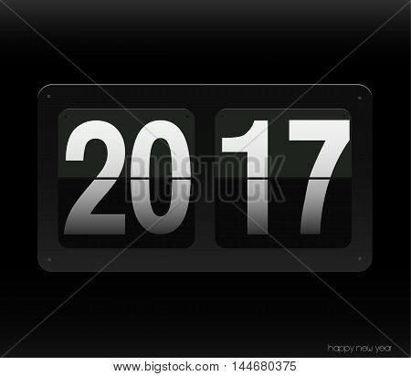Count down clock with 2017 year. Vector art