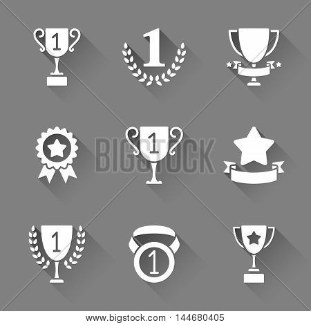 Sport trophy and awards icons. Set of 9 vector icons with long shadows