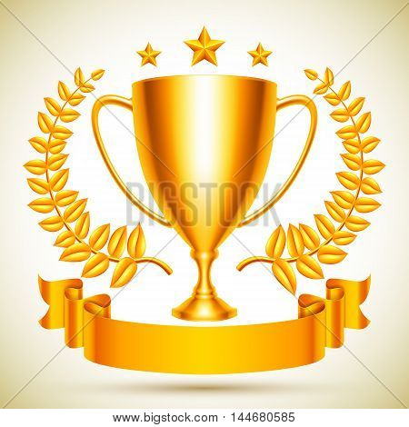 Golden trophy cup icon with laurel wreath, stars and ribbon
