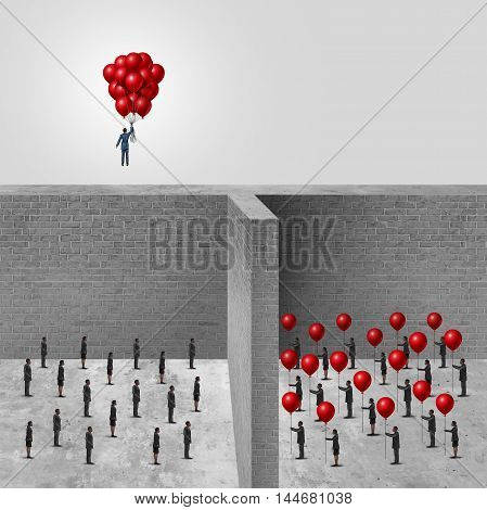 Amalgamation concept as a businessman combining a group of balloons from an organization allowing him to rise above the wall in contrast to another company of individuals each holding a balloon with 3D illustration elements.