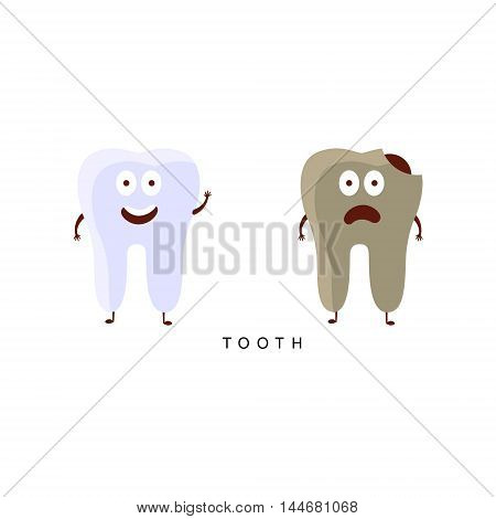 Healthy vs Unhealthy Tooth Infographic Illustration.Humanized Human Organs Childish Cartoon Characters On White Background