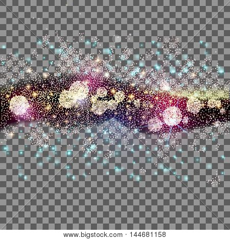 Far star field at transparent background. Abstract vector illustration with many lights and dots. Glowing stars. Galaxy way. Modern decoration for holidays design.