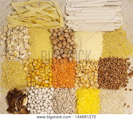Different kinds of grains background closeup shot