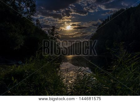 Bashkortostan Russia. The White river in southern Ural mountains the night by the light of the moon.