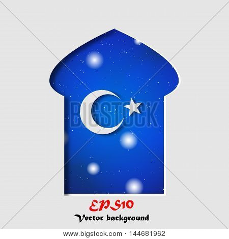 Ramadan Kareem islamic background. Eid mubarak. Islam holly month. Ramadan greeting template. Arabic design. Midnight muslim architecture of Mosque.