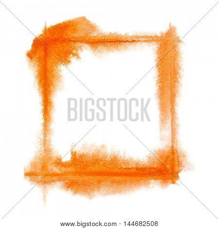 Square orange watercolor frame - space for your own text