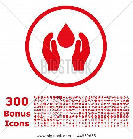 Water Care rounded icon with 300 bonus icons. Vector illustration style is flat iconic symbols, red color, white background.