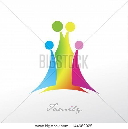 Family symbol with four colorful members. Vector art
