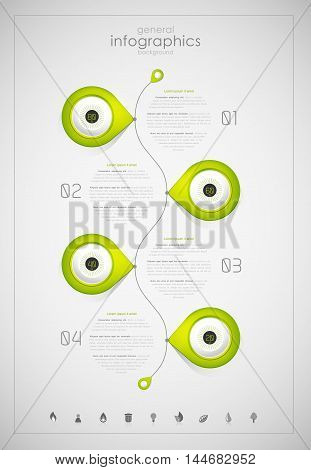 Infographic overview design template with green labels.