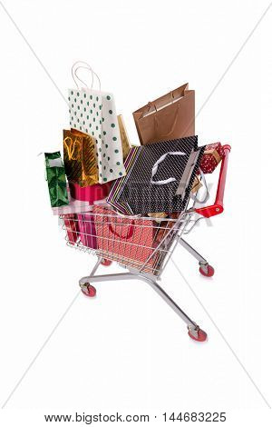 Shopping cart trolley isolated on the white background