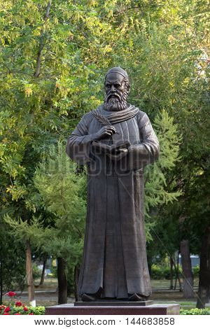 ASTRAKHAN RUSSIA - AUGUST 27, 2016 : First monument to Persian philosopher and poet Omar Khayyam Nishapuri in Russia. August 27 2016 in Astrakhan Russia.