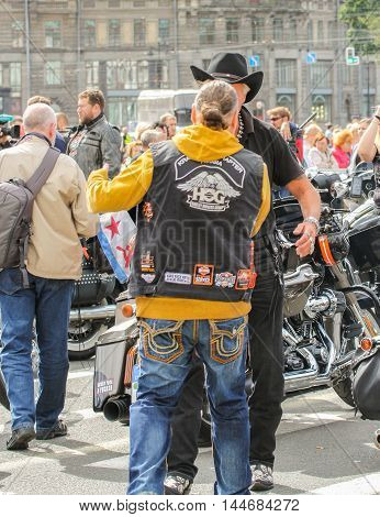 St. Petersburg, Russia - 13 August, People and motorcycles,13 August, 2016. The annual International Motor Festival Harley Davidson in St. Petersburg.
