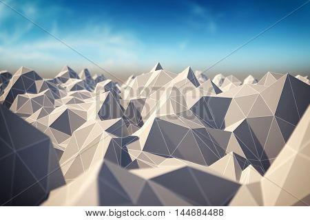 Abstract landscape of polygonal mesh with elements in focus. 3D illustration.