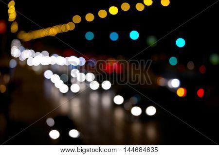 Defocused lights of urban traffic