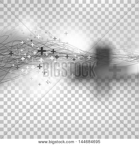 Decorative hand drawing background with pluses. Business or education vector design element. Linear illustrations. Abstract medic illustration.