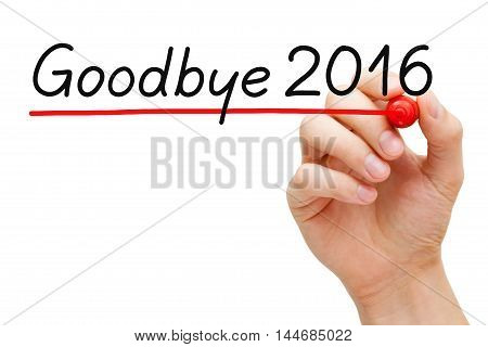 Hand writing Goodbye 2016 with marker isolated on white.