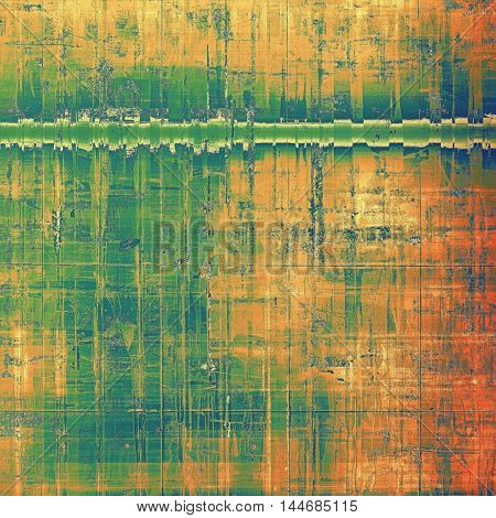 Old abstract texture used as shabby grungy background. With different color patterns: green; blue; red (orange); yellow (beige)