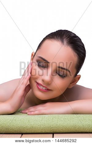 Young woman in health concept isolated on white